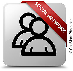 Social network (group icon) white square button red ribbon in corner