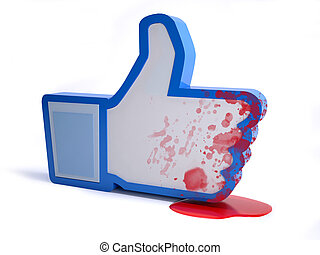social network hand icon with blood, online hate concept