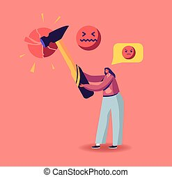 Social Network Harassment, Criticism or Bullying Concept. Angry Aggressive Female Character Send Offensive Messages Online. Behavior in Cyberspace, Abuse and Blaming. Cartoon Vector Illustration