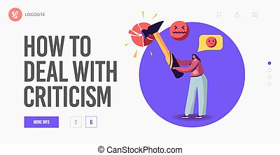 Social Network Harassment, Criticism or Bullying Landing Page Template. Angry Female Character Send Offensive Messages Online. Behavior in Cyberspace, Abuse and Blaming. Cartoon Vector Illustration