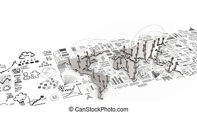 social network human 3d on world map and hand drawn business strategy as concept