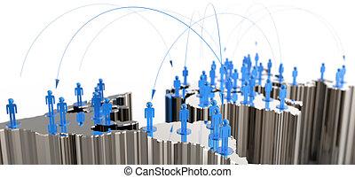 social network human 3d on world map