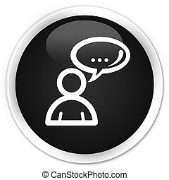 Social network icon black glossy round button