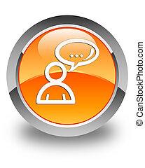 Social network icon glossy orange round button