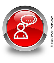Social network icon glossy red round button