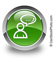 Social network icon glossy soft green round button