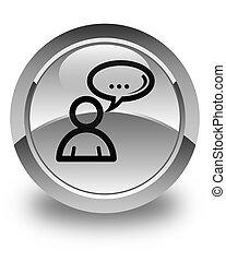 Social network icon glossy white round button