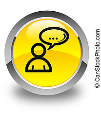 Social network icon glossy yellow round button