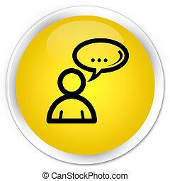Social network icon premium yellow round button
