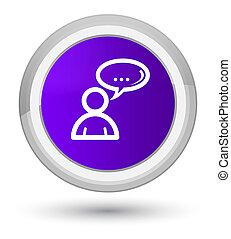 Social network icon prime purple round button
