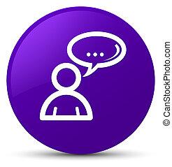 Social network icon purple round button
