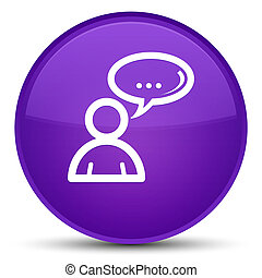 Social network icon special purple round button