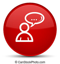 Social network icon special red round button