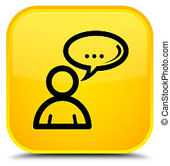 Social network icon special yellow square button