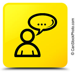 Social network icon yellow square button