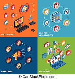 Social Network Icons Isometric Set - Isometric icon set with...