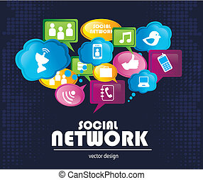 social network icons over blue background vector...