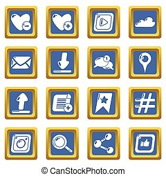 Social network icons set blue square