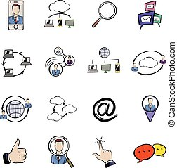 Social network icons set cartoon
