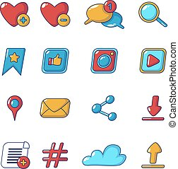Social network icons set, cartoon style
