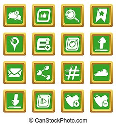 Social network icons set green square