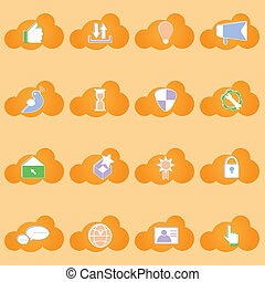 Social network icons with shadow on cloud shape