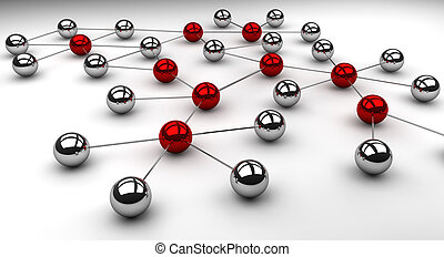 Social Network illustration with influencers marked in red. Can be also used to symbolize technical networks