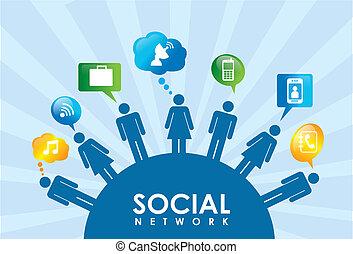 social network over blue background vector illustration
