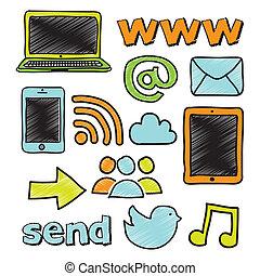 social network over white background vector illustration