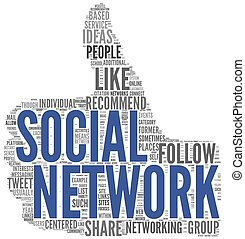 Social network concept in tag cloud of thumb up shape isolated on white background