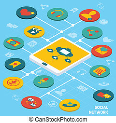 Social network isometric - Social network concept with...