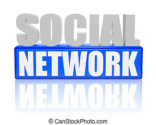 social network - letters and cubes - 3d color letters and...