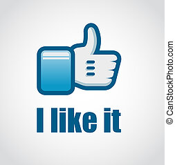 "Social Network ""like it"" hand button with soft blue tones..."