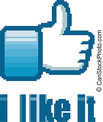 """Social Network """"like it"""" hand button with soft blue tones ..."""