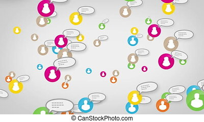 Social network white users sms messages loop media concept, white background, skype