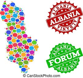 Social Network Map of Albania with Talk Bubbles and Grunge Stamps