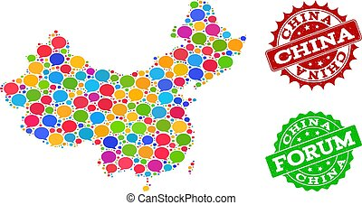 Social Network Map of China with Talk Bubbles and Textured Stamps