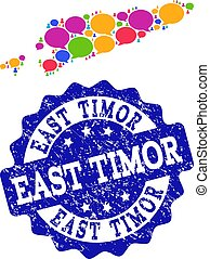 Social Network Map of East Timor with Speech Clouds and Textured Stamp