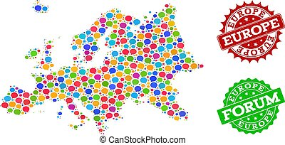 Social Network Map of Europe with Talk Bubbles and Scratched Seals