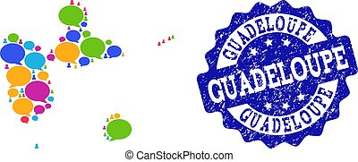 Social Network Map of Guadeloupe with Chat Bubbles and Textured Seal