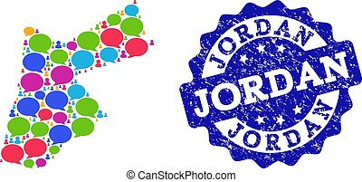 Social Network Map of Jordan with Talk Bubbles and Textured Stamp