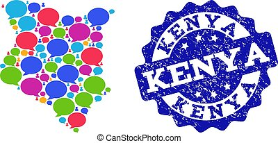 Social Network Map of Kenya with Talk Bubbles and Distress Stamp