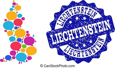 Social Network Map of Liechtenstein with Speech Bubbles and Scratched Stamp
