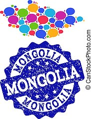 Social Network Map of Mongolia with Speech Bubbles and Textured Seal