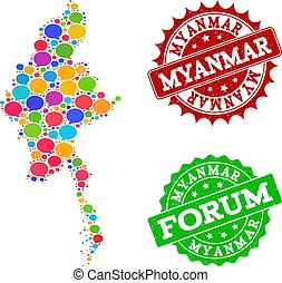 Social Network Map of Myanmar with Talk Bubbles and Distress Watermarks