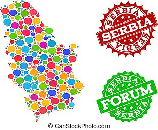 Social Network Map of Serbia with Talk Bubbles and Textured Watermarks