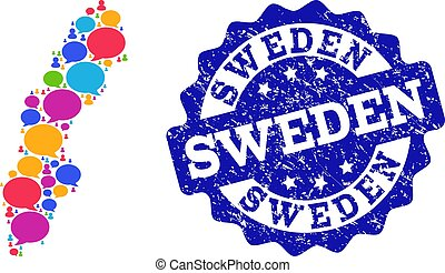 Social Network Map of Sweden with Message Clouds and Distress Seal