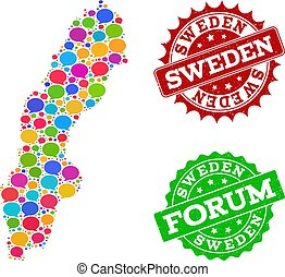 Social Network Map of Sweden with Speech Bubbles and Distress Seals