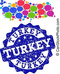 Social Network Map of Turkey with Talk Bubbles and Grunge Seal