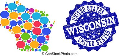 Social Network Map of Wisconsin State with Talk Bubbles and Scratched Seal